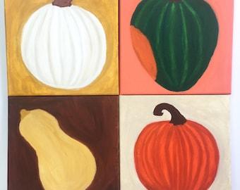 Pumpkin and Squash Paintings - Holiday decor