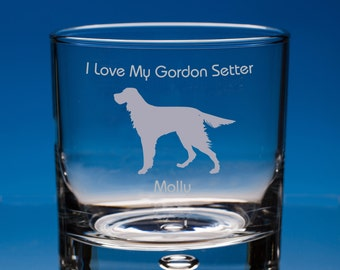 Gordon Setter Whisky Glass Dog Lover Gift, Personalised Gift, Engraved Whiskey Glass, Setter Dog Whisky Glass, Gordon Setter Dog Gift
