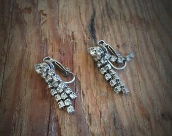Vintage Rhinestone Drop Clip Earrings