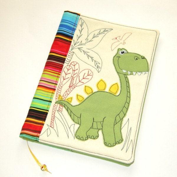 Reusable Fabric Book Cover : Dinosaur fabric book cover textile notebook case reusable