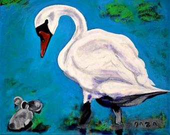 Swan & Cygnet Original Painting