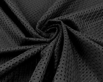 Football Mesh Knit Fabric by the Yard, Black TR1
