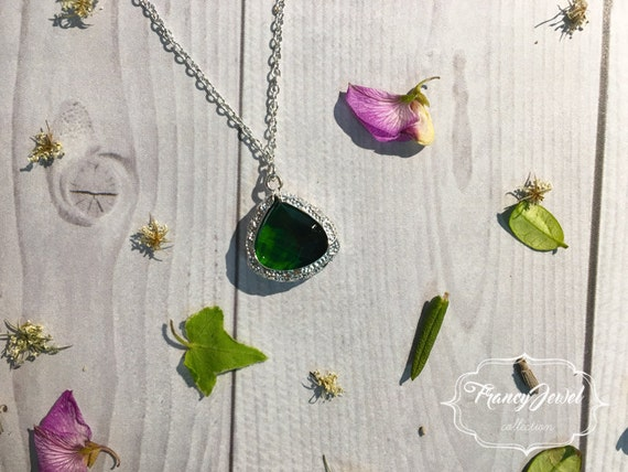 Green crystal necklace, sterling silver 925 jewelry, crystal pendant, romantic, wedding gift, bridesmaid gift