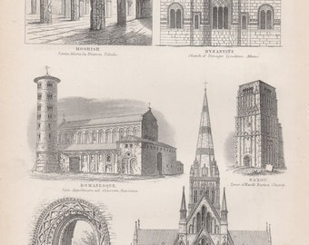 Antique Architecture Print - Antque Architecture Lithograph from 1857