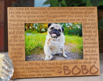 Personalized Dog Memorial Picture Frame All I Have are Memories Engraved Frame