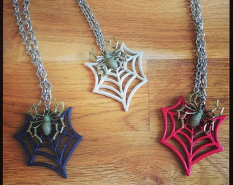 Black Red or White Spider and Spiderweb necklaces. Perfect for Halloween