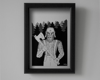 George the Lumberjack - Wild Frontiers - Original Printed Artwork Collection by Hristofor Minev