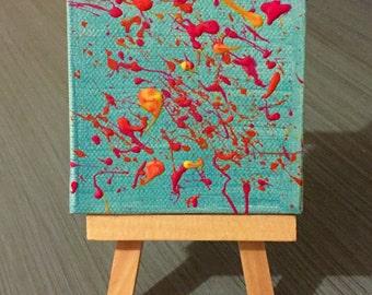 Mini canvas neon splatter