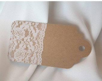Kraft and embossed lace gift tag rounded/ kraft and lace/ embossed lace/ gift tag