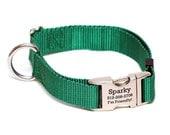 Rita Bean Engraved Buckle Personalized Dog Collar - Nylon Webbing (Hunter Green)