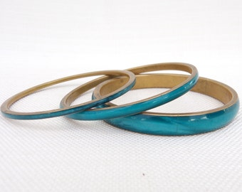 Collection of Three Turqiouse Blue Brass and Resin Bangles - Blue Bracelets - Boho, Festival, Retro Jewellery - Vintage Bracelets -