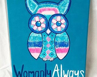 Sorority Phrase Owl Canvas