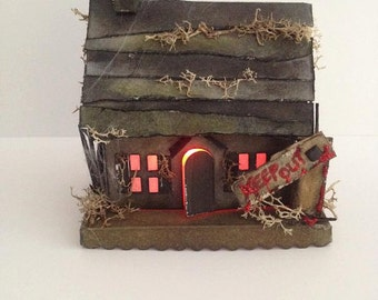 Miniature haunted house/ mini cottage/ witch house/ witch cottage/ black house/ halloween/ tealight/ paper house/ gothic decor