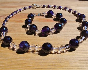 Faceted Dark Amethyst and Smooth Clear Quartz Bead Necklace and Bracelet Set