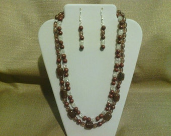 387 Classic Two Strand Gold/Brown Agate Barrel Beads and Brown Clay Beaded Choker