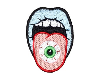 Mouth Eye Patch Iron On Embroidered Patches Applique Embroidery • Surreal Art Trash Punk Rock Hippie Street