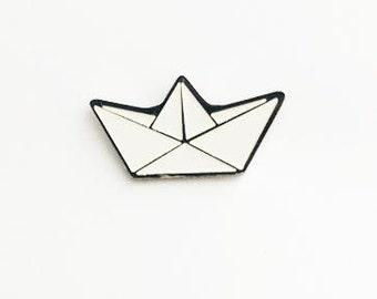 Paper boat enamel pin