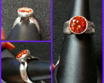 10mm Orange Cubic Zirconia Sterling Silver Ring