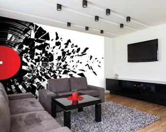 Photo Wallpaper Wall Mural for Dining Room, Living Room Decor, Bedroom Decor, Office - Smashed Vinyl Record Music Room Mural