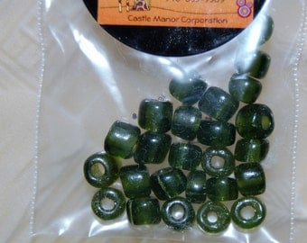 Artisan crafted African Beads - Olive Green, round, 3-4 cm., (25 beads)