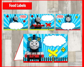 80% OFF SALE Thomas the Train Food Tent Cards instant download, Printable Thomas the Train Food Labels, Thomas the Train Party Table Label