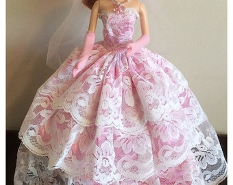 Barbie pink wedding dress with veil jewelry and gloves 7 piece set  (doll not included)