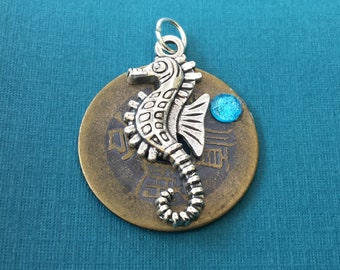 Chinese Good Luck Coin Pendant with Silver Seahorse