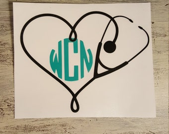 Stethoscope Heart Monogram Decal, Car Decal, Yeti Decal, Rtic Decal