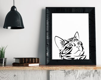 Cat Art Print - Minimalist Art, Cat Print, Funny Cat Art, Cat Illustration, Modern Art, Cat Drawing, Minimalist Print, Cat Lover Gift Idea