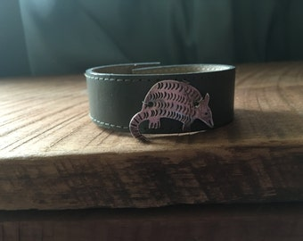 Recycled Green Leather Belt With Silver Aardvark Charm