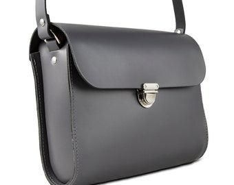 Grey Leather Crossbody/Shoulder Bag made in London
