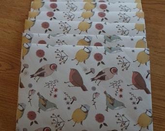 Handmade Bird Print Envelopes