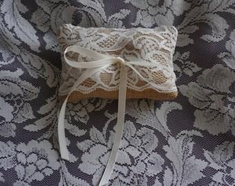 Hessian Burlap Lace Ring Bearers Pillow for Wedding