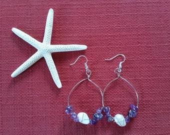 Wire Wrapped Amethyst and Fresh Water Pearl Hoop Earrings
