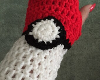 Pokeball Fingerless Gloves/ Wrist Warmers!