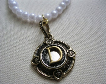 Vintage inspired personalized initial pendant on pearl necklace