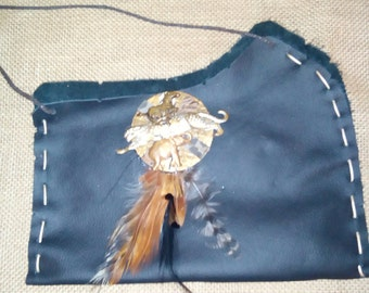 Feather Leather Handbag