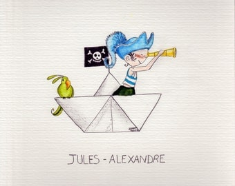 Customizable with the name of your child - Reproduction handmade of illustration (A4 size)