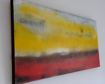 """Acrylic painting """"Wide land"""", shipping, abstract, XL - canvas directly from the artist, unique, autographed, 120 x 60 x 4 cm"""