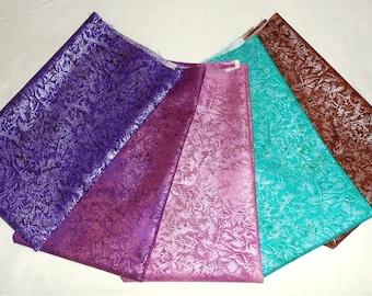 "Fairy Frost Fat Quarter Bundle 5pc. ""Teal/Pink/Purple/Chocolate""  (Michael Miller Violet Frost Glitz/Ink/Purple/Isle/Sepia) (#O34)"