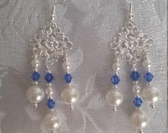 Swarovski Crystal and Pearl Chandelier Earrings Sapphire Blue Silver September Birthstone