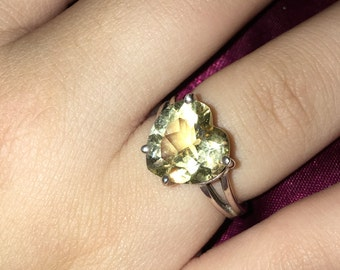 925 silver Citrine heart shaped ring