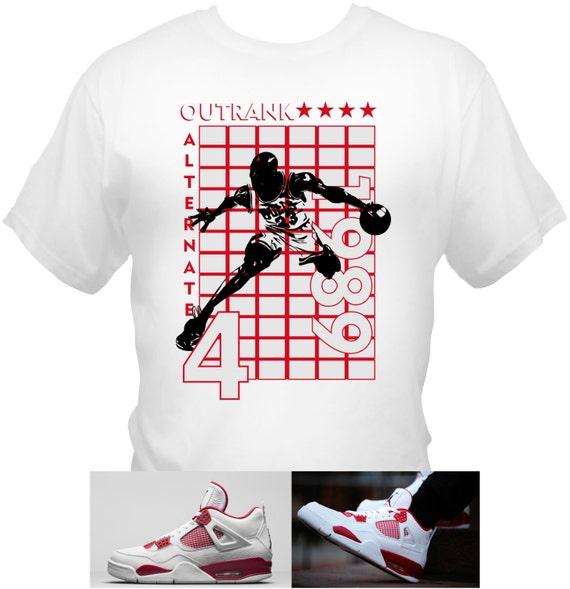 Michael Jordan Air Jordan 4 Alternate 89 T-Shirt MJ 30th Anniversary Red White Bulls