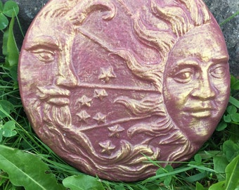 7 Inch Hand Painted Concrete Sun and Moon  Celestial Stepping Stone/ Garden Stone/Ornament