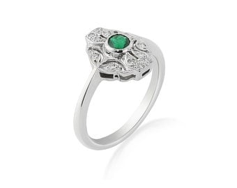 R009 Emerald and Diamond Edwardian Ring