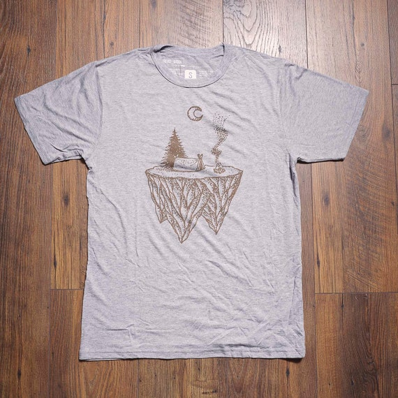 Camp fire bamboo tee heathered grey men 39 s t shirt for Bamboo t shirt printing