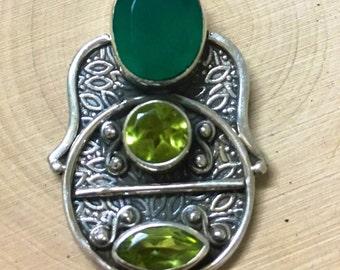 Silver Hamsa hand inspired pendant