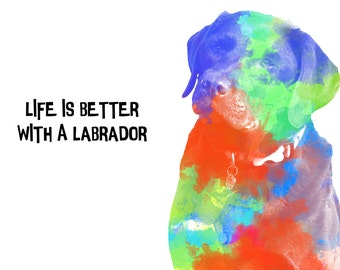 Unique labrador Dog Digital Art A4 Print