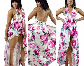 Floral Hot Pink Maxi Romper