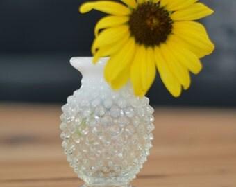 Fenton Art Glass Hobnail Bud Vase in White Opalescent